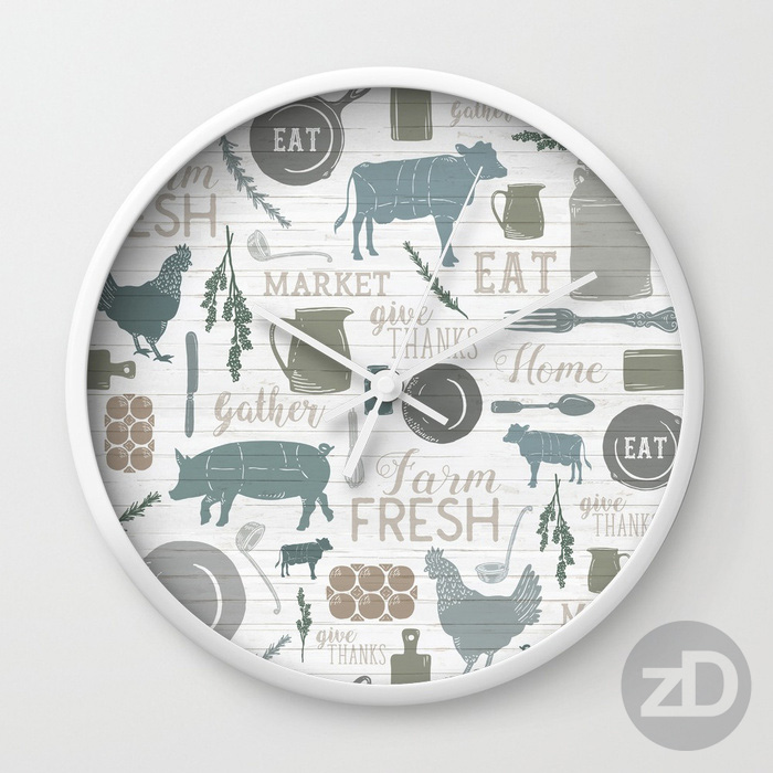 Zirkus Design | Sing for Your Supper: A Modern Farmhouse Pattern Design - Clock Mockup
