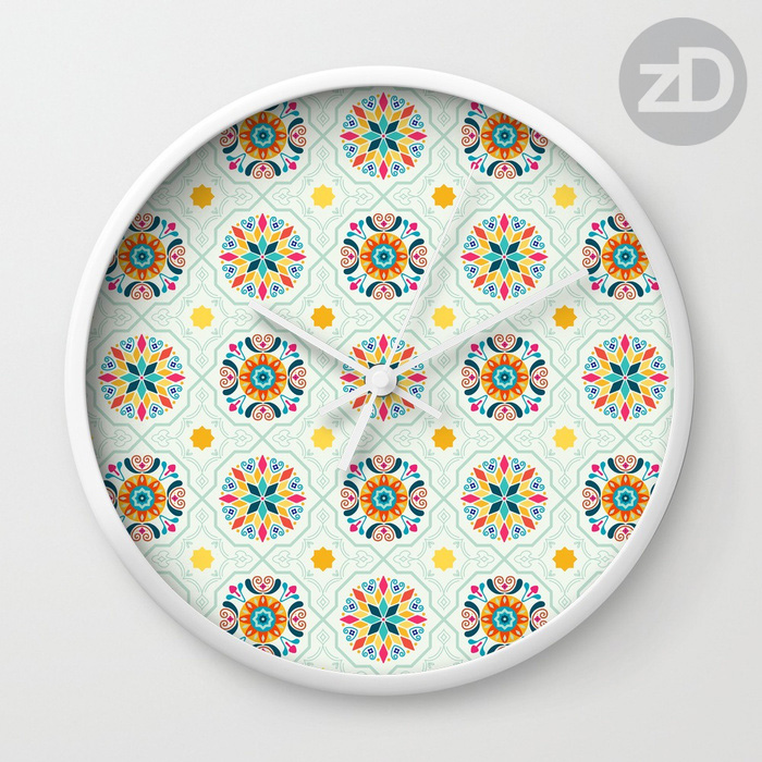 Zirkus Design | Spanish Tiles in Minty Moroccan Pattern Available on Custom Wall Clock by RedBubble