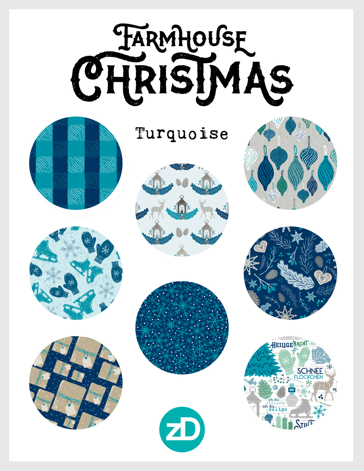 Zirkus Design | Warmest Wishes Farmhouse Christmas Pattern Design Collection - Turquoise
