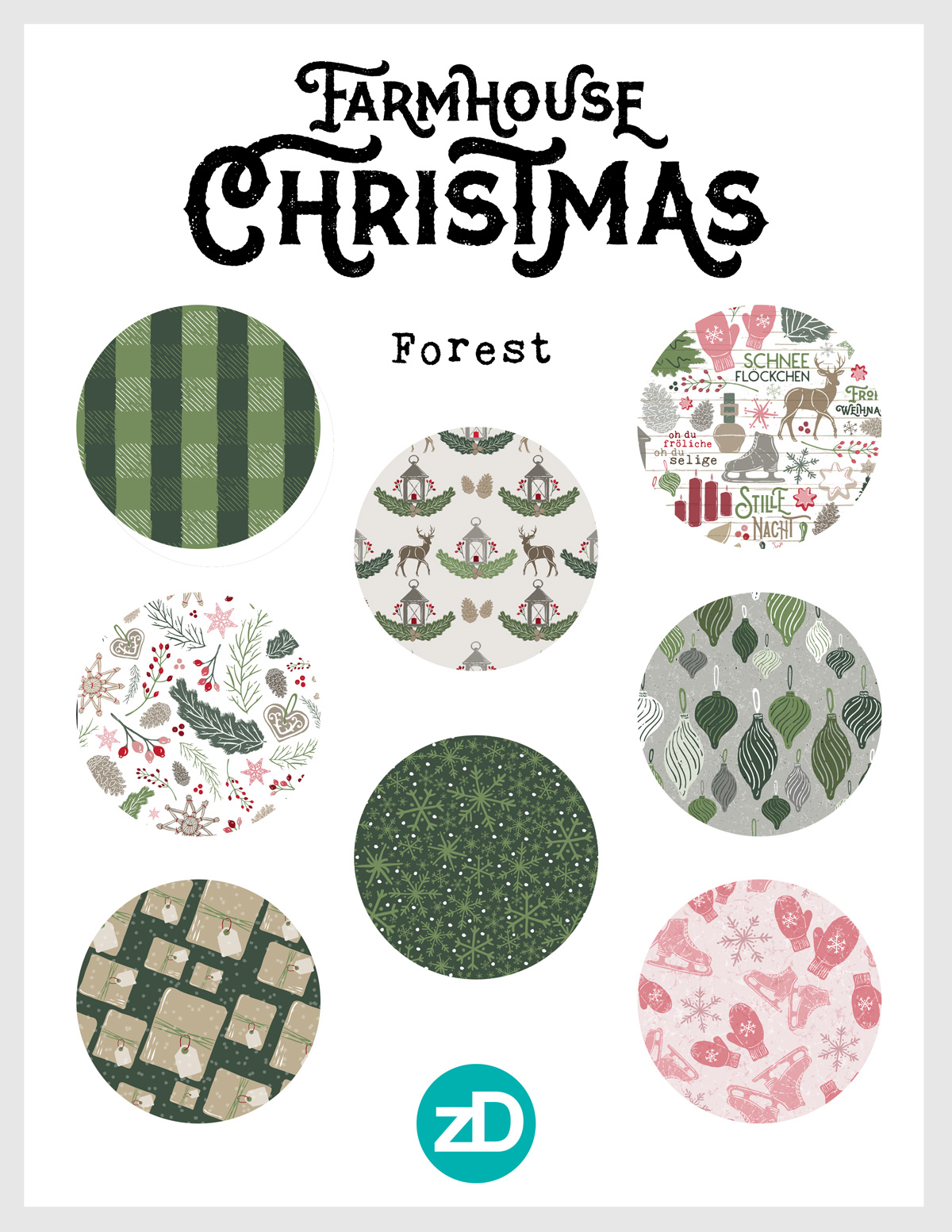 Zirkus Design | Warmest Wishes Farmhouse Christmas Pattern Design Collection - Forest