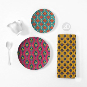 Zirkus Design | Surface Pattern Design Mini Ikat Collection : Tangier Teal Home Goods Mockup (Plates and Tea Towel)