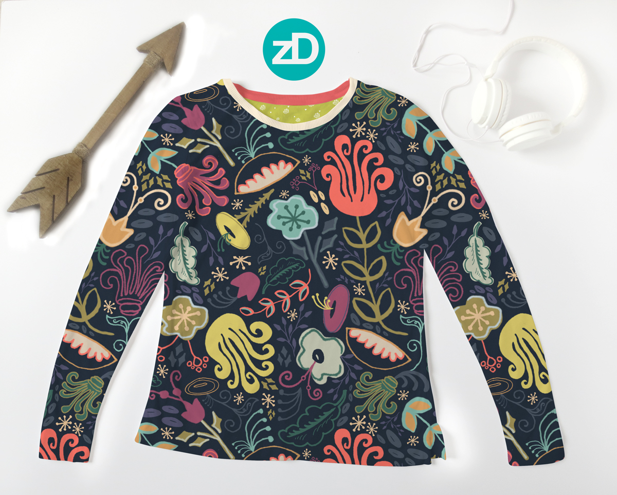 Zirkus Design | New Navy Vintage Floral Pattern - Design Process: Women's Long Sleeve T-Shirt Mockup