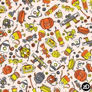 Zirkus Design   Halloween Candy Robots Collection - Three Color Halloween Fabric - SCATTER