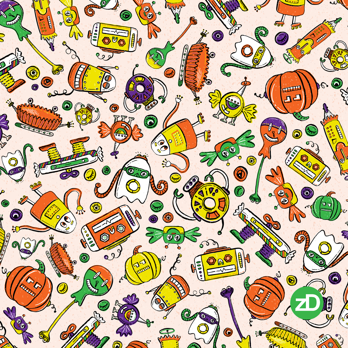 Zirkus Design | Halloween Candy Robots Collection - Five Color Fabric SCATTER