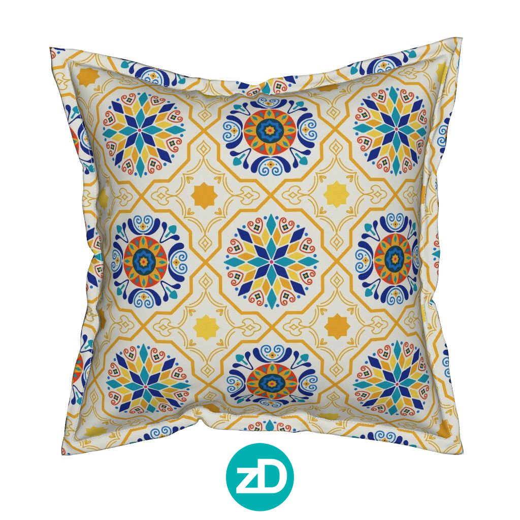Zirkus DesigZirkus Design | Cheery Modern Moorish Spanish Tiles Fabric Design - Pillow Mockupn | Cheery Modern Moorish Tiles Fabric Design - Pillow Mockup Spanish Tiles