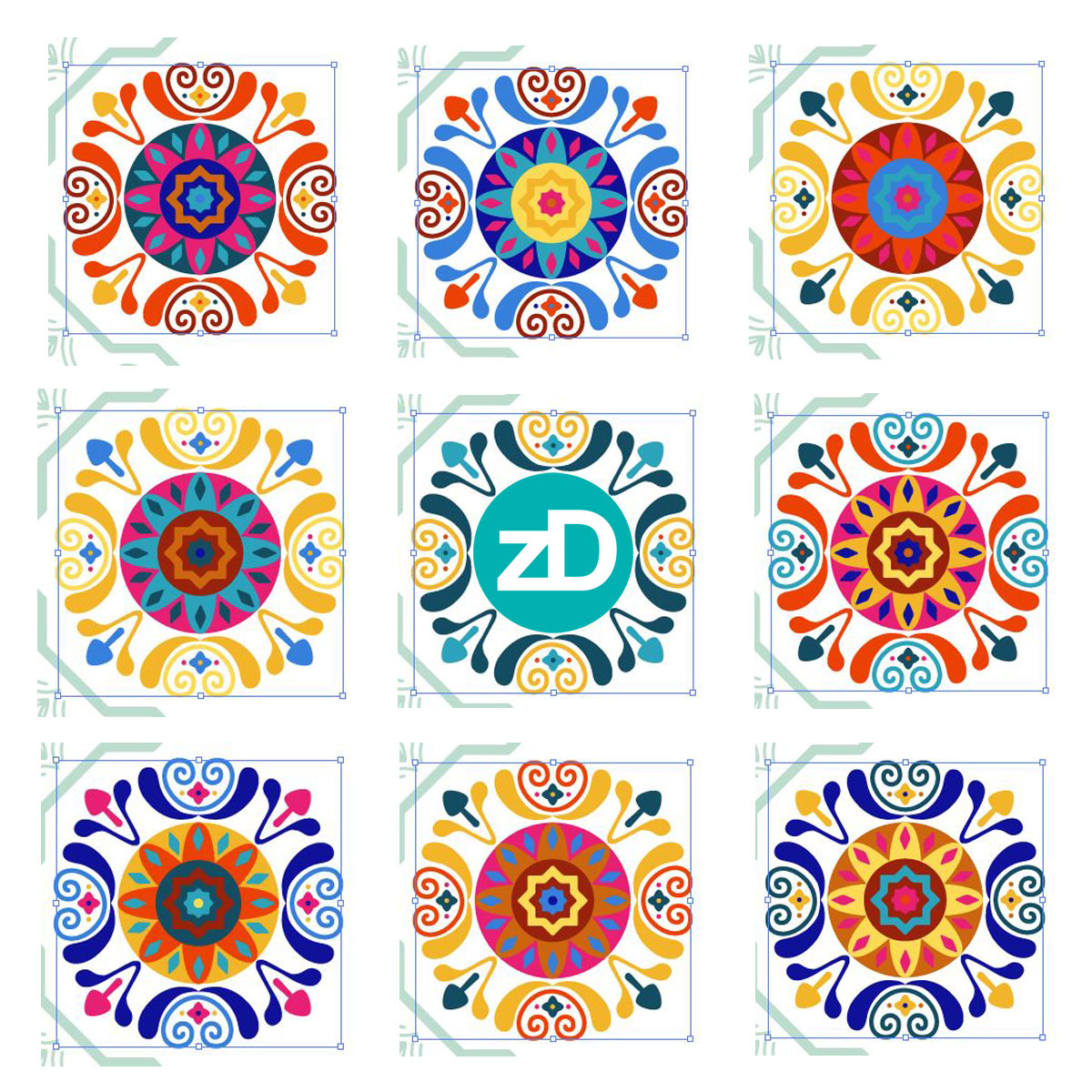 Zirkus Design | Cheery Modern Moorish Tiles Fabric Design - Recoloring my Artwork