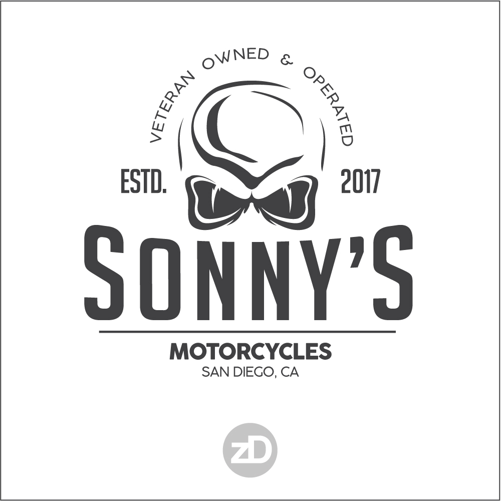 Zirkus Design | Logo Design for Veteran - Owned Businesses - Sonny's Motorcycles : Skull Logo Concept