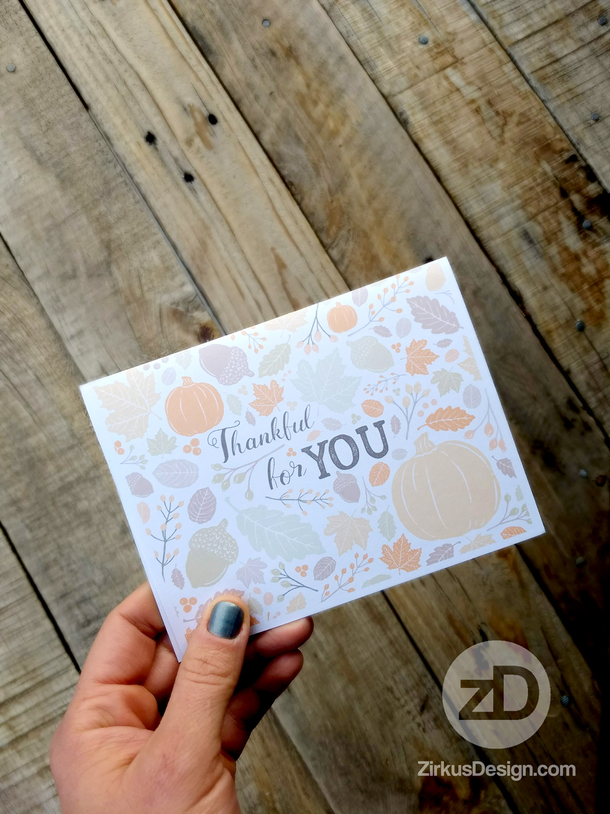 Zirkus Design | Sing for Your Supper: Autumn Edition // Surface Pattern Design Collection - FREE Thankful For You Card