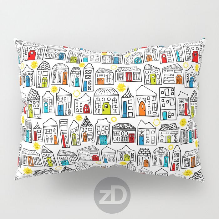 Zirkus Design |Happy City Pattern Available on Custom Throw Pillows by RedBubble