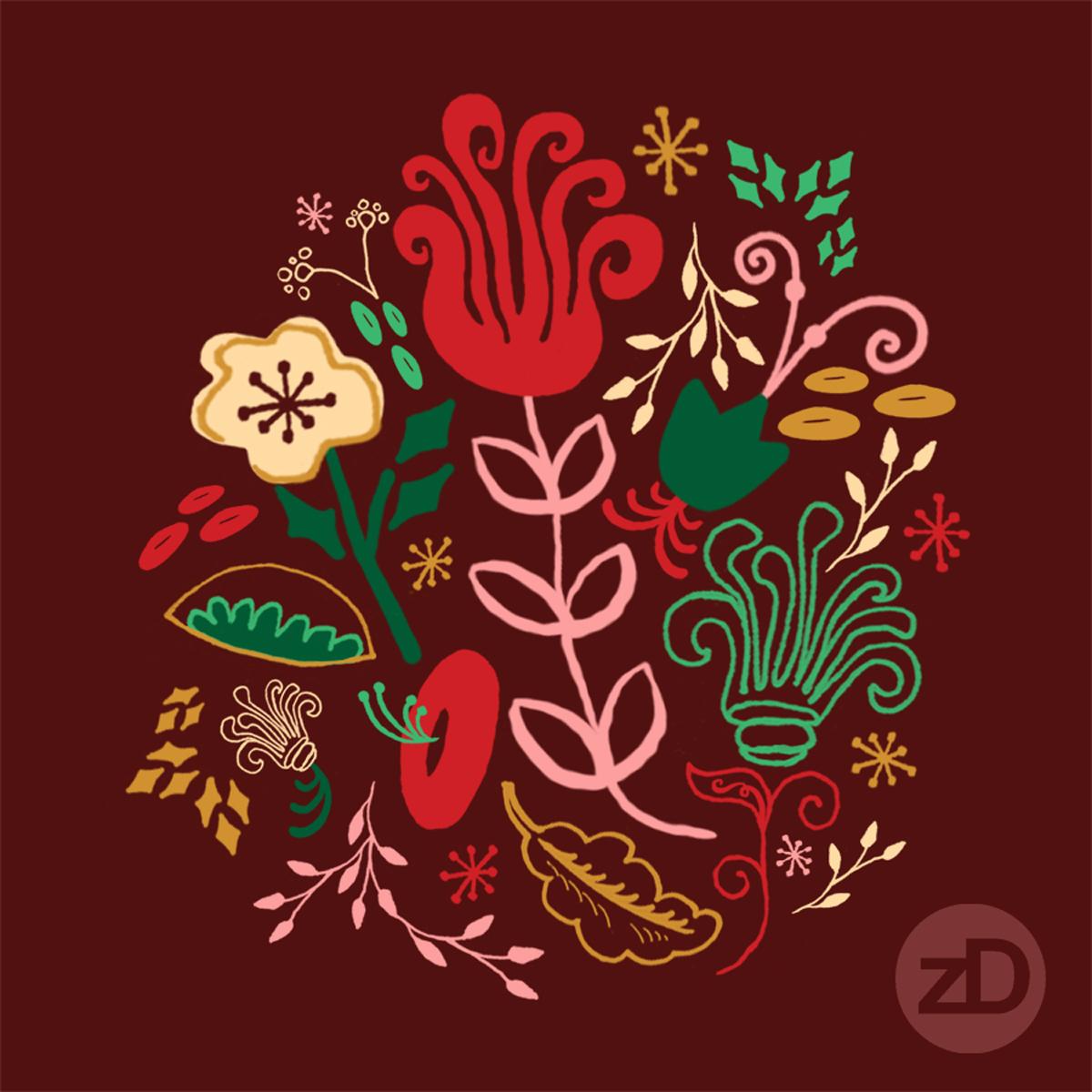 Zirkus Design | Vintage Floral Repeat Pattern - Vintage Holiday Color Palette Color Way