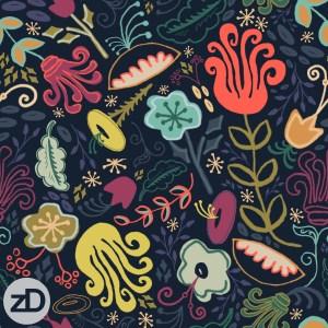 Zirkus Design | New Navy Vintage Floral Pattern - Design Process: Finished Repeat Pattern Design