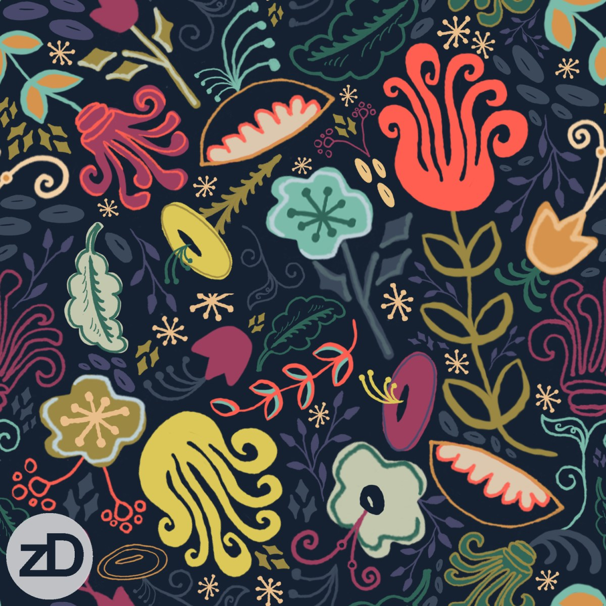 Zirkus Design | New Navy Vintage Floral Pattern - Design Process: Finished Repeat Pattern Design