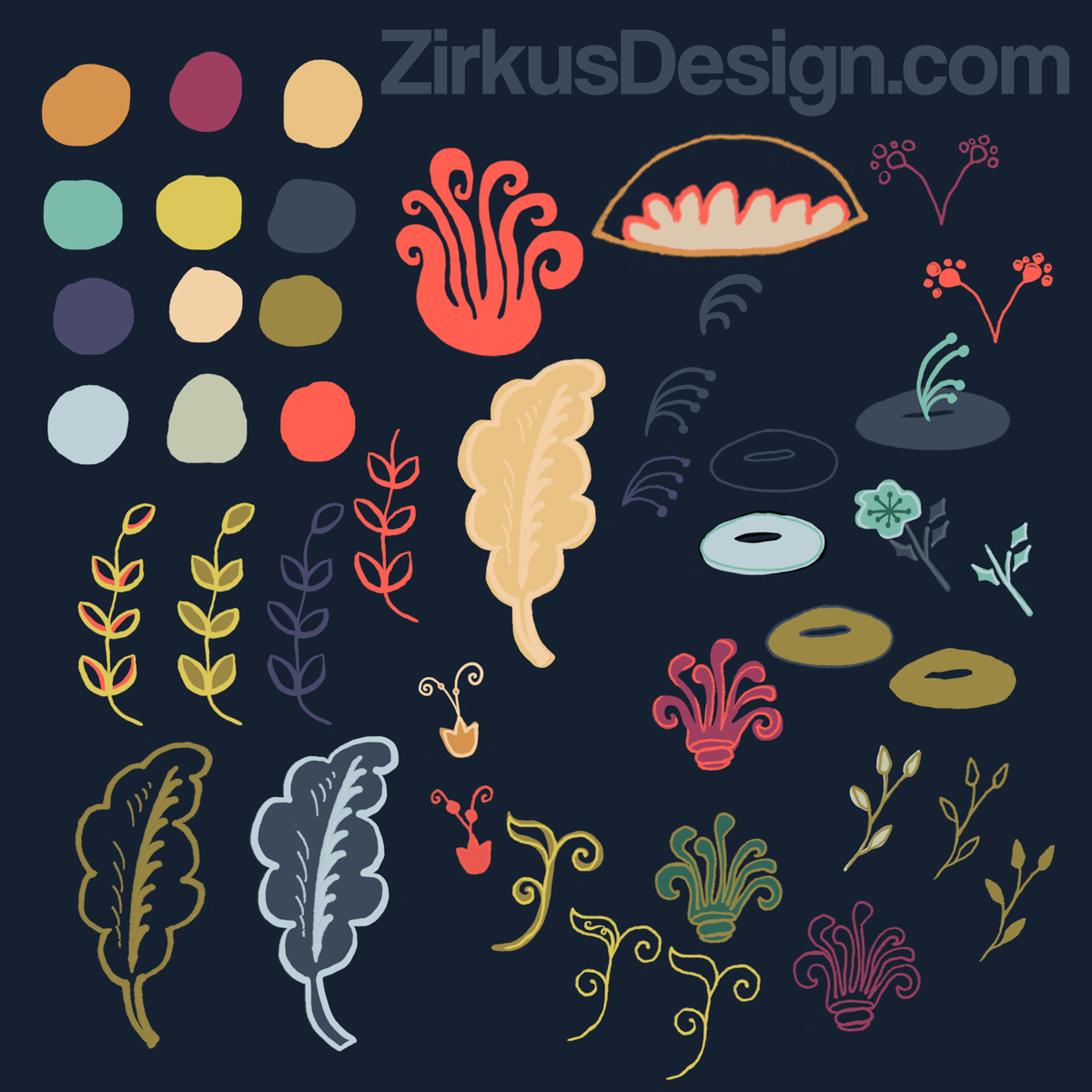 Zirkus Design | New Navy Vintage Floral Pattern - Design Process: Sketches + Color Palette