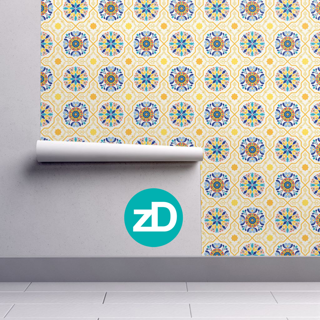 Zirkus Design | Cheery Modern Moorish Spanish Tiles Fabric Design - Wallpaper Mockup