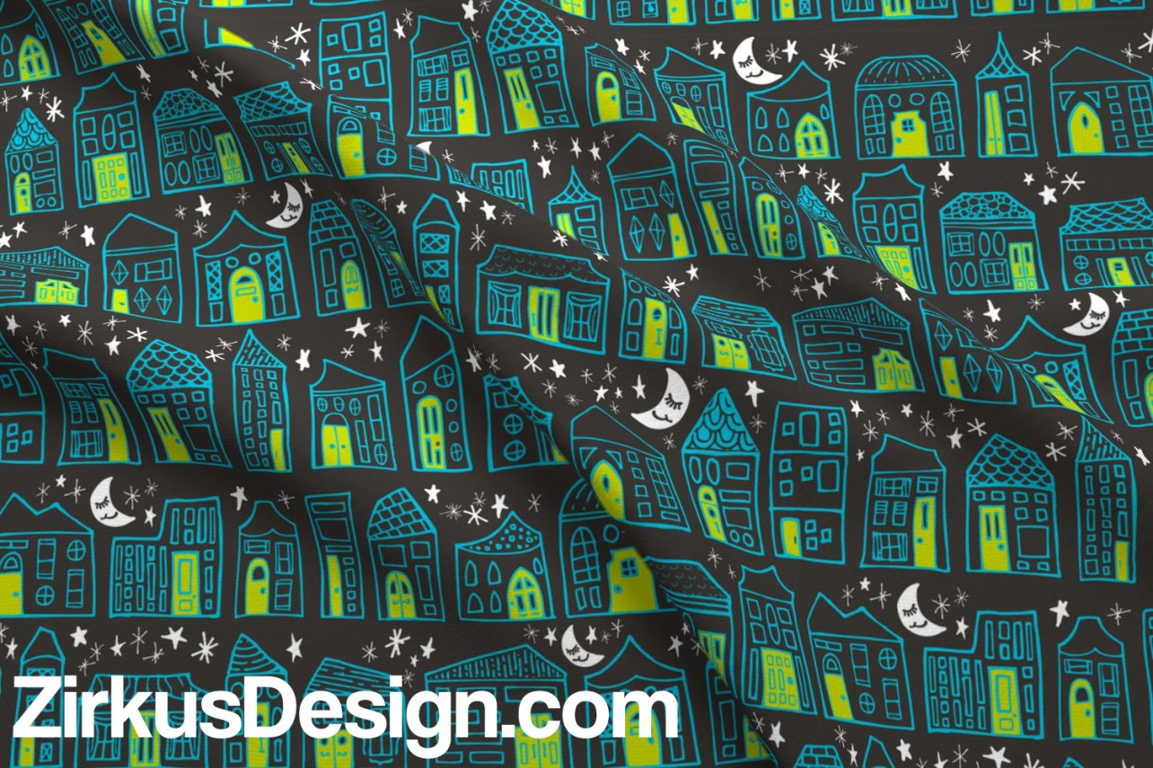 Zirkus Design | Happy City Pattern Collection - Welcome Home! - Starry Night in Lime, Turquoise, and Charcoal