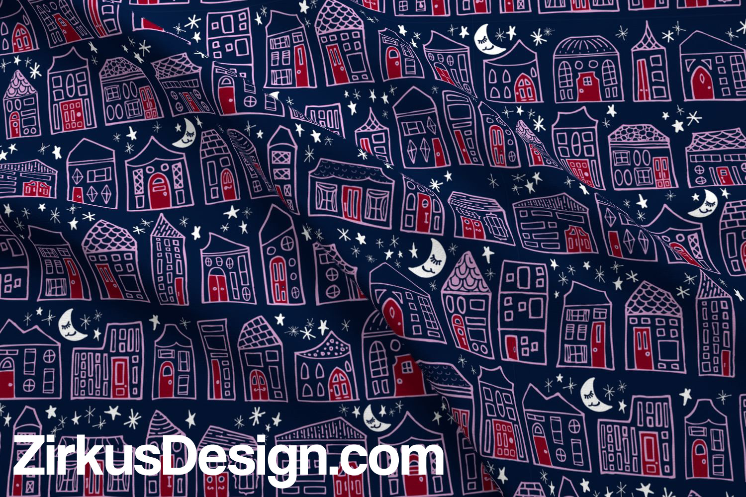 Zirkus Design | Happy City Pattern Collection - Welcome Home! - in Navy, Orchid, and Maroon