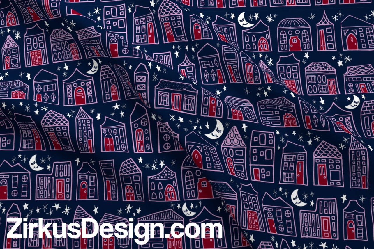 Zirkus Design | Happy City Pattern Collection - Welcome Home! - Starry Night in Navy, Orchid, and Maroon