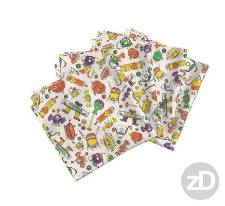Zirkus Design | Halloween Candy Robots Collection - Five Color Fabric Napkins