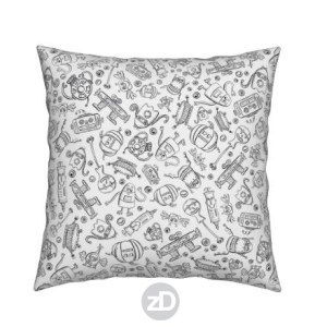 Zirkus Design | Halloween Candy Robots Collection - Black and White Coloring Book Fabric - Scatter Version - Throw Pillow
