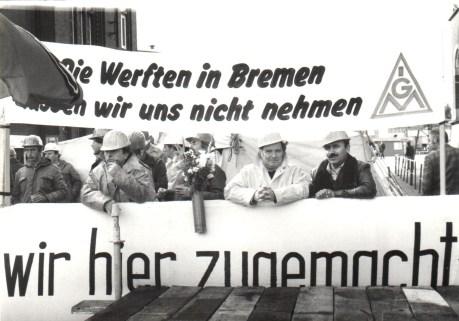 Demo Werftschliessung, AG Weser 1983 (© Geschichtswerkstatt Gröpelingen)