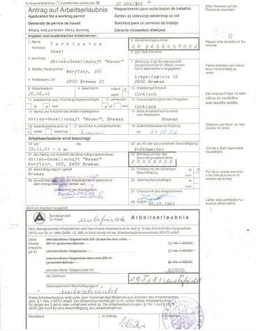 Antrag auf Arbeitserlaubnis 1981, Ahmet Terkivatan (© privat)