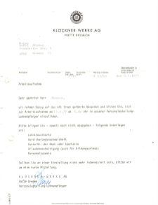 Klöckner - Werke - AG Arbeitsaufnahme 1977 (© privat)