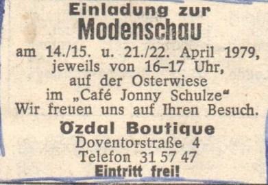 Weser Kurier Einladung Modenschau 1979 (© Weser Kurier)