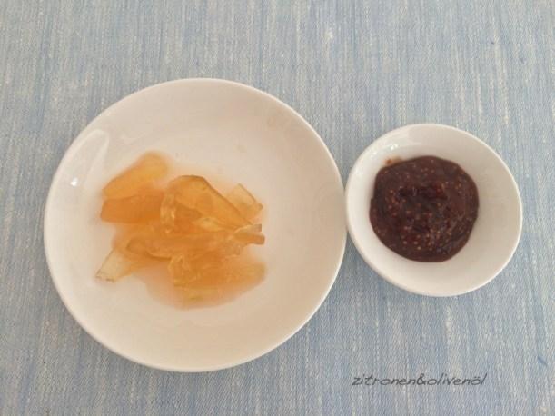 Wassermelonenschale gliko koutaliou und Feigenmarmelade