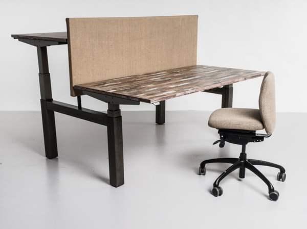 zit sta bureau met blad van sloophout