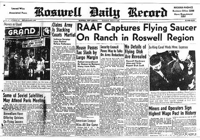 On July 8, 1947, the Roswell Army Air Field issued a press release (see image at right) indicating that the military had recovered a crashed flying saucer.