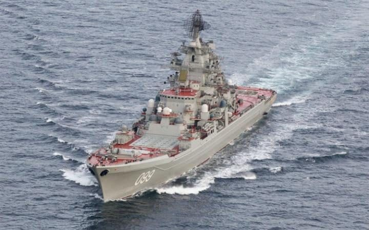 Kirov-class cruiser Peter the Great in international waters off the coast of Northern Norway this week