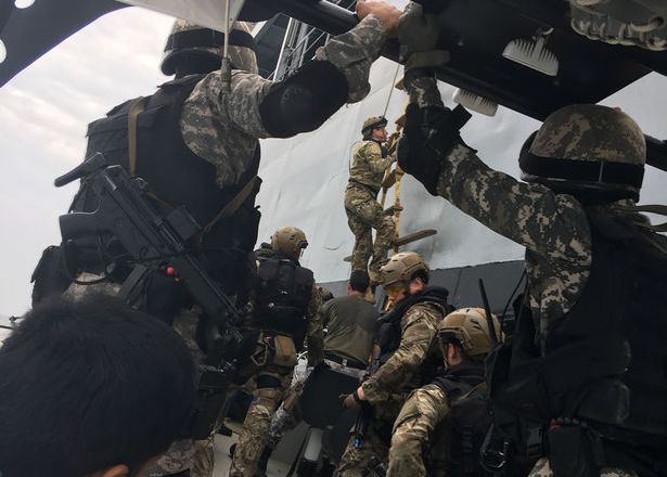 Royal Marines take part in Operation with MARCOS of Indian Navy