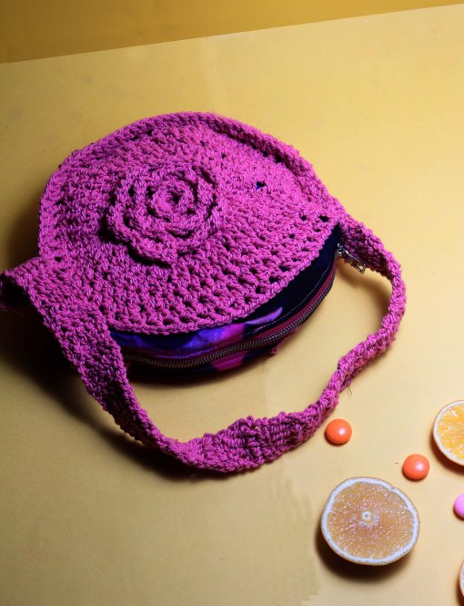 pink crocheted bag