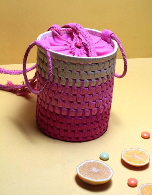 Colourful palm bucket bag