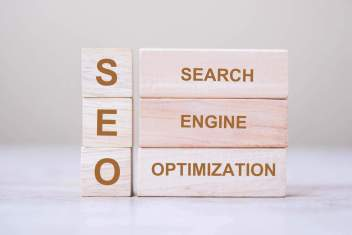 SEO (Search Engine Optimization) text wooden cube blocks