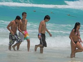 non-nudists, clothed beach-goers
