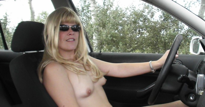 woman driving naked