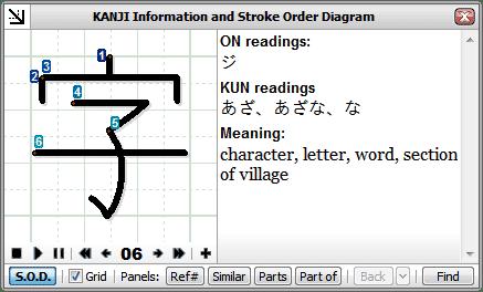 kanji information window | zkanji