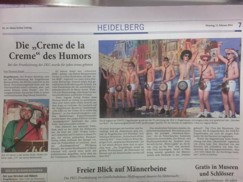 2014 - Artikel RNZ - 1. Prunksitzung Ziegelhausen