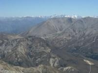 The Arrowsmith Range centre right, Aoraki and Mt Tasman distant on the left