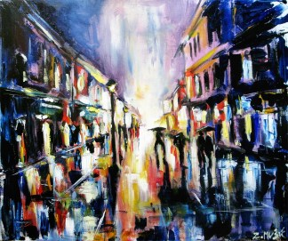 City street in rain, art painting by artist Zlatko Music