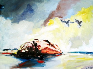 Summer Beach, figure art painting by artist Zlatko Music