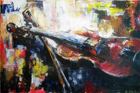 Violin, still life art painting by artist Zlatko Music