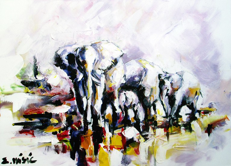 Elephants crossing the river, art painting by artist Zlatko Music