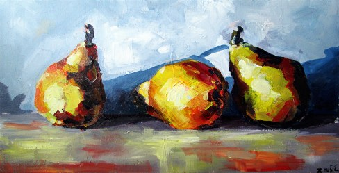 Pears, contemporary art painting by Zlatko Music (acrylic on canvas), still life