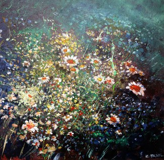 flowers painting, spring. Modern art painting landscape by Zlatko Music Art
