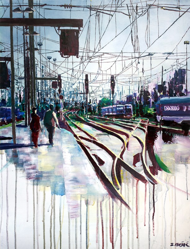 train station landscape art painting, Zlatko Music Art