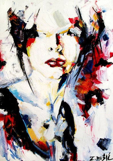 Beuty lies in imperfection, abstract portrait art painting by Zlatko Music