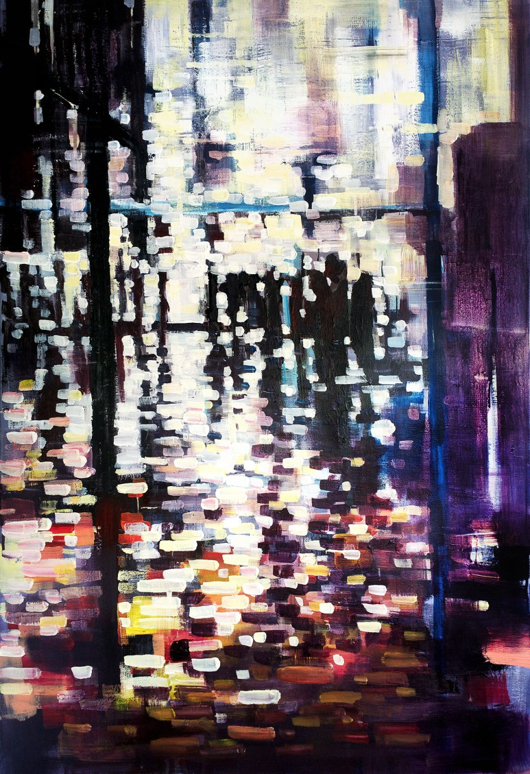Burst of light breaking shapes, contemporary abstract art painting by artist Zlatko Music