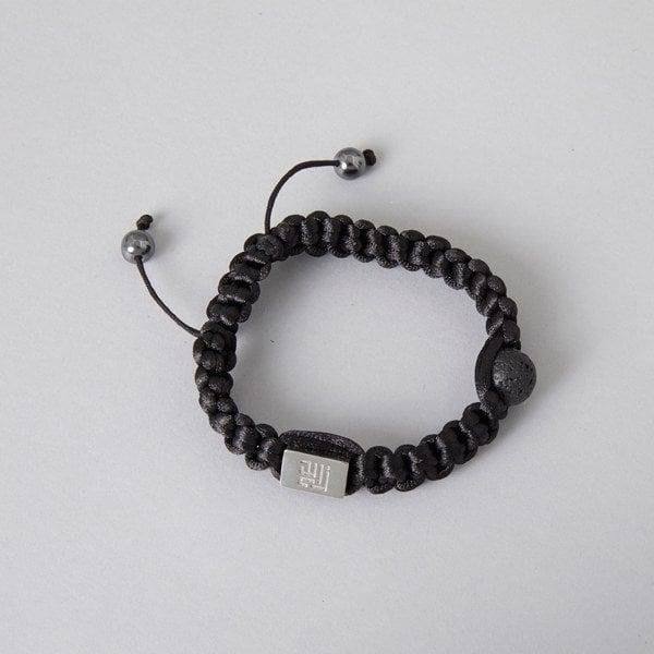 Sort lava sten metal perle armbånd med sit enkle rå design. Passer både til ham og hende. Leveres med en smuk gaveæske
